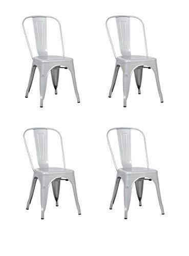 La Silla Española - Pack 4 Sillas estilo Tolix con respaldo. Color Gris Industrial. Medidas 85x54x4