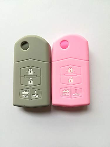 WKX 2pcs Fob Key Cover for Mazda 3 5 6 CX-7 CX-9 RX-8 MX-5 Miata Key Protector Fob Remote Cover Keyless 662F-SKE12501