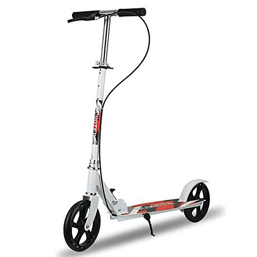 PTHZ Scooter de Patada Plegable para Adultos y Scooter de Estilo Libre,Freno de Mano y Freno de Rueda Trasera,Altura de Cuatro velocidades Ajustable,Adecuada para Persona con una Altura de 1.1-1.85 m