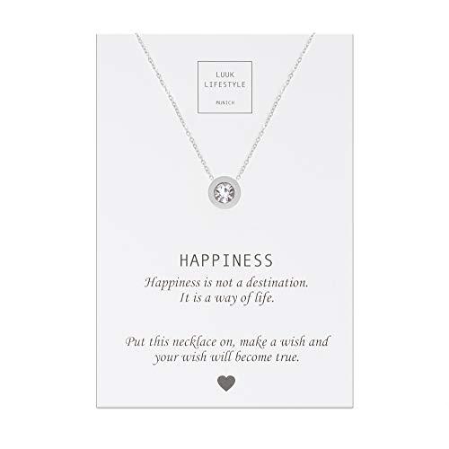 LUUK LIFESTYLE Gioielli donna, gift card, collana con ciondolo a forma di pietra di strass e biglietto regalo con frase Happiness, portafortuna, argento