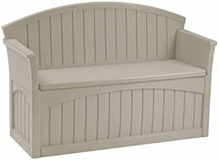 Suncast 50 Gallon Patio Bench with Storage - Decorative Resin Outdoor Patio Bench for Deck, Patio, Garden, Backyard - Ideal for Storing Toys, Cushions, Tools - Taupe