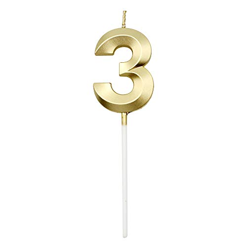 Dylan-EU Velas de Cumpleaños Número 3 Velas de Tartas Topper Oro Decoración de la Torta para Fiestas De Cumpleaños Aniversarios De Bodas