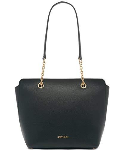 Bolsa Calvin Klein Hailey Micro Pebble Top com corrente de zíper, Black/Gold, One Size