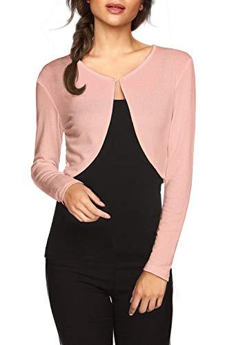 TrendiMax Damen Lässig Bolero Jacke Kurz Cardigans Strickjacke Schulterjacke Leichtes Langarm Top, Rosa, XL