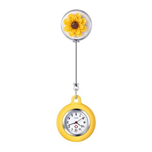 Lancardo Reloj Enfermera de Flor Reloj Médico de Bolsillo de Silicona Movimiento...