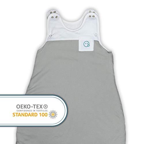 VABY – Babyschlafsack OEKO-TEX®, aus Baumwolle und Bambus, größenverstellbar, weiß/grau, Kinderschlafsack mitwachsend, Baby Schlafsack für Neugeborene, Junge und Mädchen