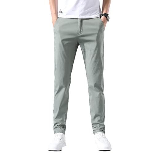 Pantalones para Hombre Pantalones Delgados de Color sólido Salvaje con Viento Suelto Simple de Verano con Bolsillos y cordón 30