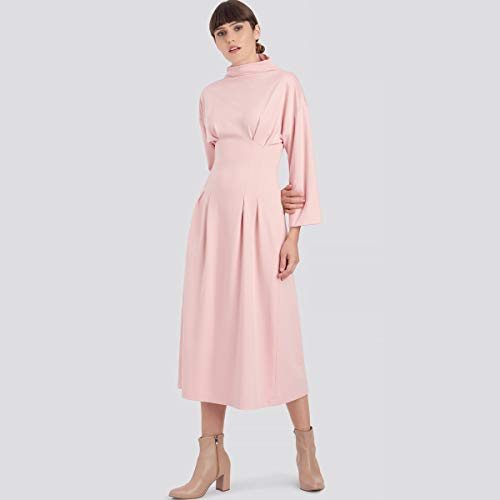 SIMPLICITY SS9174U5 U5 (16-18-20-22-24) Las longitudes del vestido de punto para mujer tienen cuello de embudo de manga larga, tres cuartos o cortas