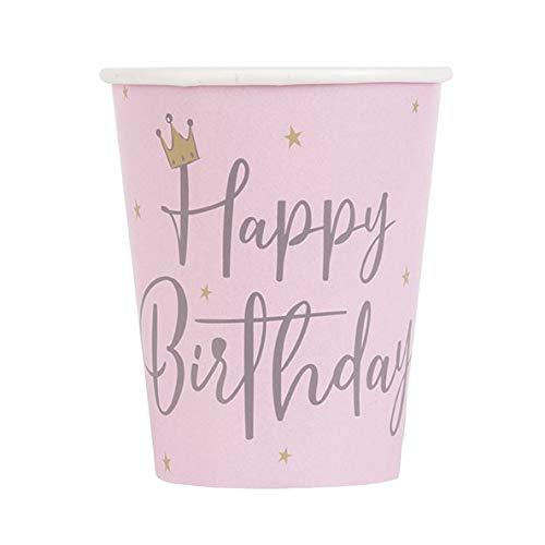 Unique Party- Vasos de papel, Color rosa (78366)