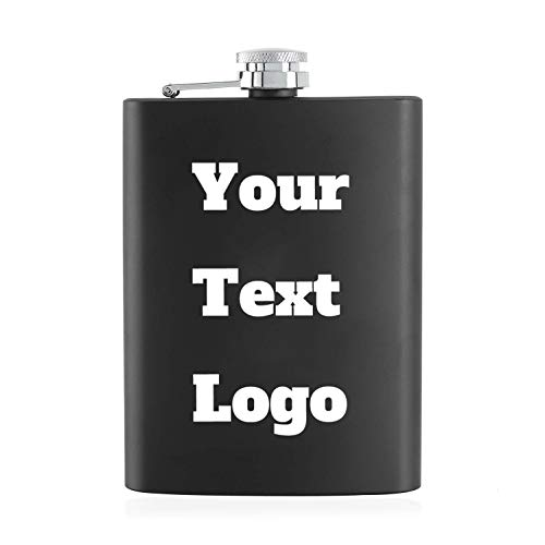 Personalized Flask Custom Hip Flask   Engraved Any Text/Logo   8 Oz Stainless Steel Pocket Hip Flask for Shot Drinking of Alcohol, Whiskey and Vodka   Wedding Christmas Gift for Men