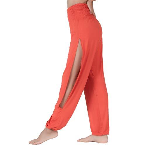 Lofbaz Pantalones de Yoga con Aberturas Sutiles para Mujer con Pantalones de Chándal de Cintura Alta Ropa Maternidad Naranja S