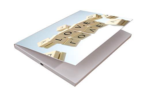 SoundGreets Audio Grußkarte inkl. USB Kabel - Sound Datei (Mp3) bis 4 Min. Länge vom PC per USB aufspielen, Aufladbarer Akku, Top Lautsprecher, mit Musik (Love Scrabble)