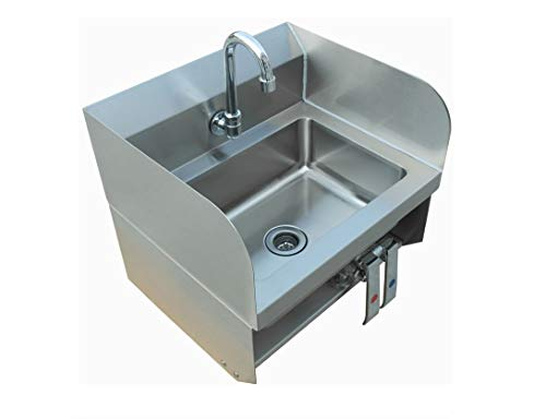 Commercial Stainless Steel Wall-Mount Hand Sink with Side Splash with Knee Pedals - Dimensions 15x17