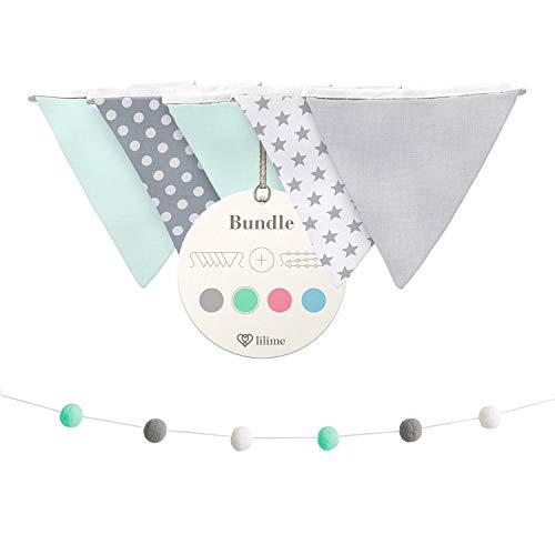 lilime® Wimpelkette Inkl. GRATIS Girlande ideal für Dekoration im Kinderzimmer - Unsere Wanddeko für dein Kind - Super süße Deko für jedes Babyzimmer (1.9M/Grau-Weiß-Mint)