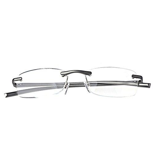 Fogun Aluminium Randlose Lesebrille Schmal Klein Mini Leicht Lesehilfe Augenoptik Sehstärke Lesebrillen (1.5)
