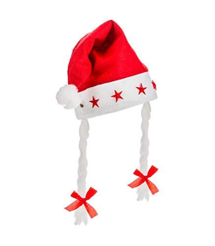 Feeric Christmas – kerstmuts, verlicht, 5 LED's, met vlechten, voor dames, eenheidsmaat cm Rood