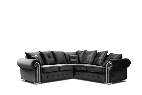 HHI Dark Grey Plush Fabrics Sofas for living Room - Grey Large Corner Sofa for Bedroom (230cm x 230cm) (Large Grey Plush Fabrics Corner Sofa)