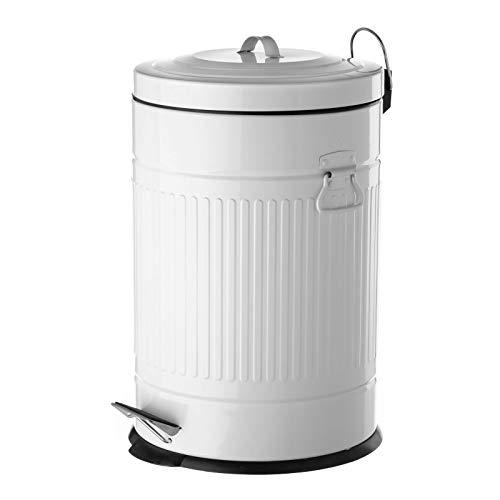 Papelera de 20 litros industrial blanca de acero para cocina Basic - LOLAhome