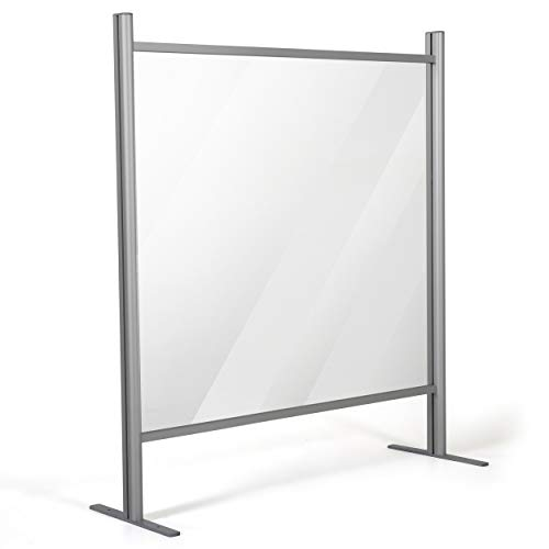 M&T Displays 31.50x47.24 Inch Clear Hygienic Barrier with Aluminum Bars, Sneeze Guard, Protective Window for Cashiers, Workers, Employers and Customers, Barrier Against Coughing & Sneezing