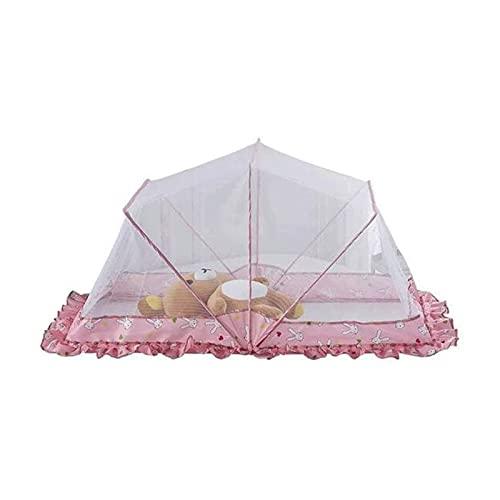 JeeKoudy 0-6 Años Tienda de Viaje para Bebés, Mosquitera Cama de Bebé Cuna de Viaje Plegable Portátil Cuna Cama con Dosel (Color : Pink, Size : 125X68X63cm)