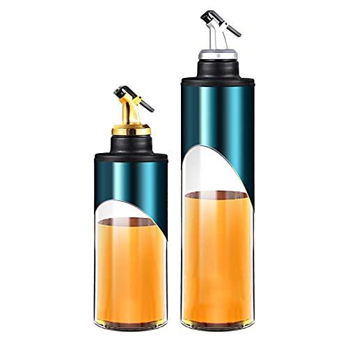 INSTO Aceitera de cristal con boquillas, aceite y vinagre para cocinar vino y salsa de soja, dispensador de aceite de cocina, acero inoxidable, color azul