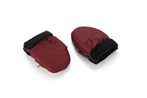 Guanti per passeggino, colore bordeaux, con pelo nero, protezione contro il freddo e la pioggia del passeggino, guanti...