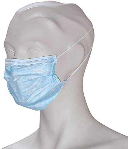 WORK-INN Mundschutz 3-lagig in Blau | Type II mit CE | 50 Stück | Elastikbändern in Komfortlänge, Nasenflügel & Ohrenschlaufe | 100% Polypropylen | Ideal für Labor, OP, Reinigungsarbeiten uvm.