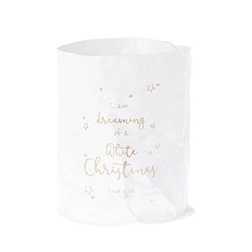 Riverdale Windlicht/Glas und wasserfeste Papiertüte mit Print - White Christmas and you 15 cm Lichtertüte Lichttüte Weihnachten Kerzenhalter Teelichthalter Dekoration Geschenkidee Dekoidee