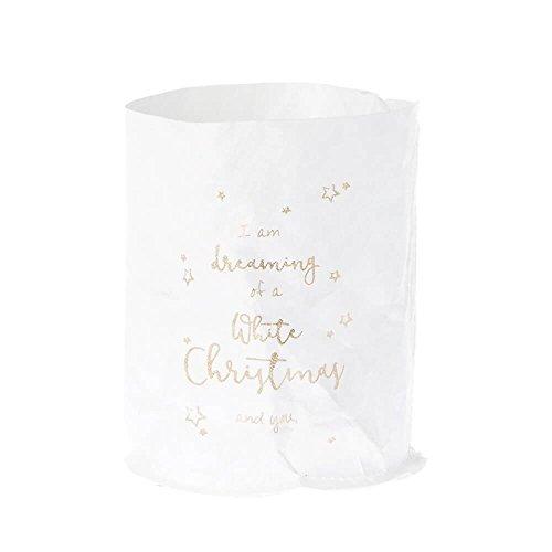 Riverdale windlicht/glas en waterdichte papieren zak met print - White Christmas and you 15 cm lichtzak lichtzak kerst kandelaar theelichthouder decoratie cadeau-idee decoratief idee