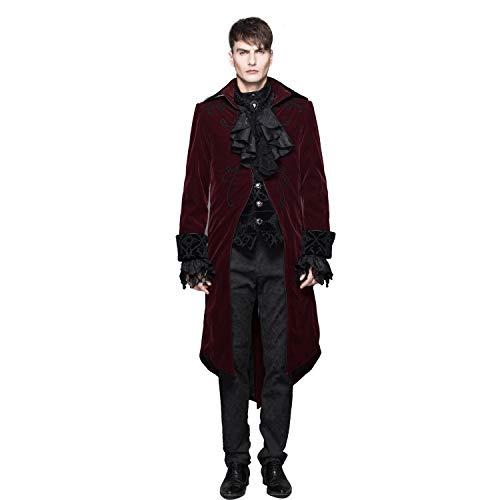 Devil Fashion Men Wine Red Gothic Vintage Victorian Velvet Long Tailcoat Party Wedding Jacket (Wine Red, L)