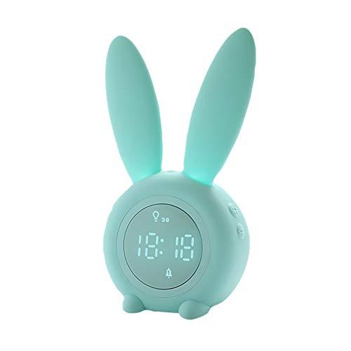 shuxuanltd Reloj Sobremesa Grande Reloj Despertador para Niños Lindo Conejo Despertador Luz Creativa Lámpara De Noche Función De Repetición Luz De Noche Temporizada Green