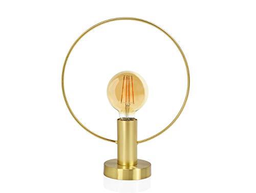ANDREA HOUSE - Lámpara de Mesa Dorada para Bombilla Vista con aro metálico 29x12x35cm