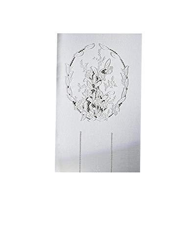 Zenoni & Colombi Coppia di Tende Ricamate a Mano Odessa Made in Italy Misto Lino Varie Dimensioni (45x150)