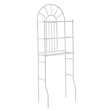Tangkula 3 Shelf Over The Toilet Bathroom Space Saver, Toilet Rack Organizer White