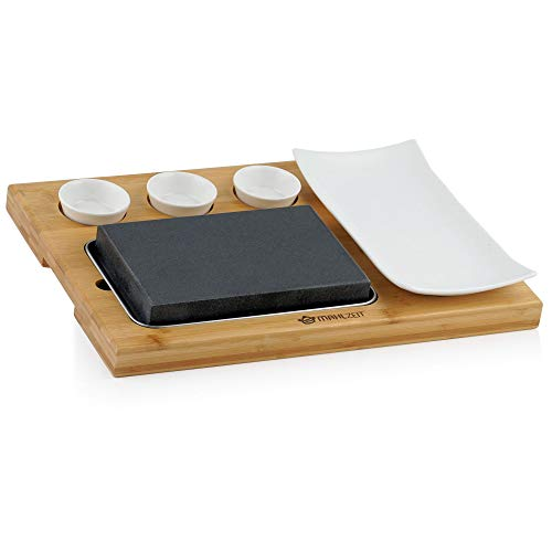 Mahlzeit Juego de piedra de lava (7 piezas) | Juego de piedra caliente, plato y tazones de inmersión en una práctica tabla de madera
