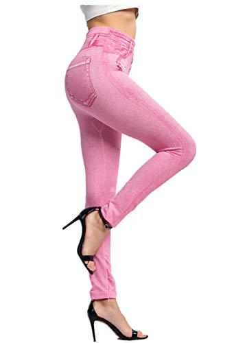 Fliegend Damen Jeggings Treggings High Waist Leggings Jeansoptik Elastic Jeans Frauen Skinny Hosen Strumphose Lange Tights 3XL