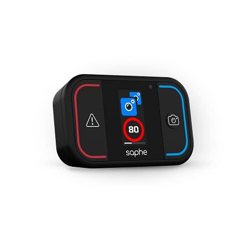 Saphe Drive Mini Dispositivo per le allerte autovelox con display a colori, segnalatore autovelox in tutta Europa, allerte estese Sistema Tutor, si avvia automaticamente alla partenza via Bluetooth.