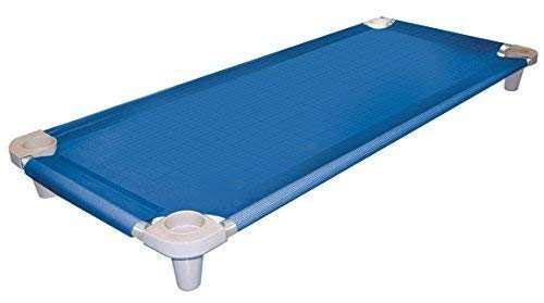 Acrimet Premium Liege Kinderbett Stapelbar Tragbar Kindergarten (Edelstahlrahmen) (Blau Kinderbett Grau Füße) (1 Liege)