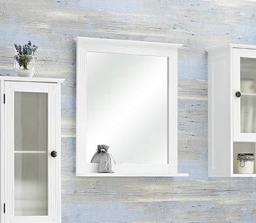 Pelipal - Maxim - Spiegel mit Ablage - Badmöbel - 68,5 x 60 x 13 cm - Landhaus-Stil - in weiß Glas/weiß