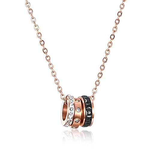 HHW Diseño Clásico Titanio Acero Chapado En Oro Rosa Collar De Combinación De Tres Anillos Diamante Chapado En Oro Rosa Collar De Mujer Accesorios De Cóctel De Fiesta