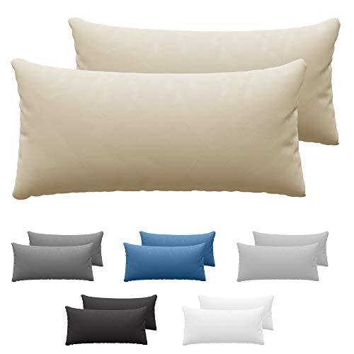 Dreamzie Set da 2 x Federa Cuscino 40x80 cm, Beige Cotone, 100% Jersey di Cotone - Federa da Cuscino 40x80 - Copri Cuscino per Letto - Fodera Protezione per Cuscino