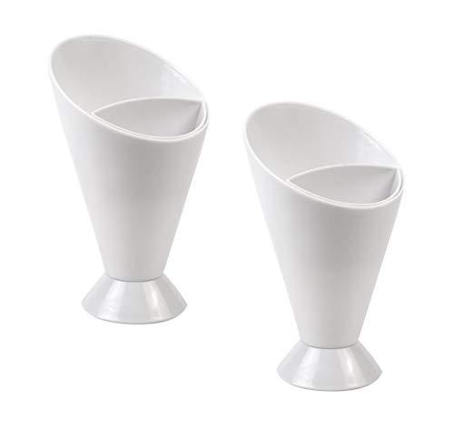 Invero - Set di 2 contenitori a forma di cono per patatine fritte e salse, ideali per feste, intrattenimenti amici e ospiti (10 x 16,5 cm)
