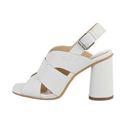 Ital Design Damenschuhe Sandalen & Sandaletten High-Heel Sandaletten, 9936-, Kunstleder, Weiß, Gr. 38