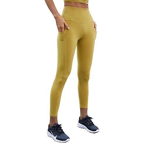 Y-H-X Pantalones de Yoga para Mujeres con Bolsillos, Cinturones de Cintura Alta, Leggings para Mujeres de Entrenamiento de Mujeres para,Amarillo,L