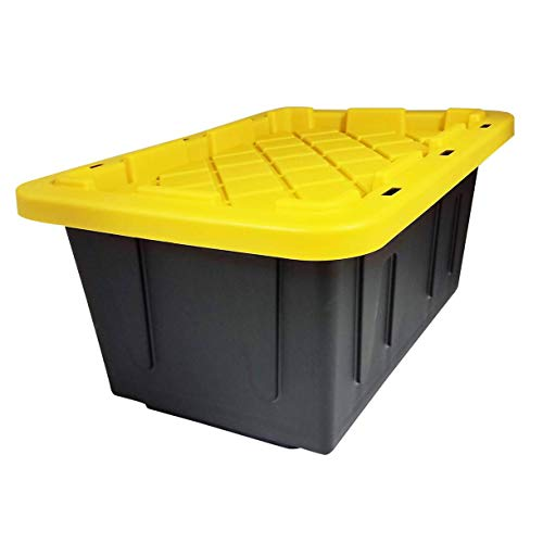 HOMZ 15 Gallon Durabilt Tough Storage Container, Black base, Yellow lid, Stackable, 2-Pack