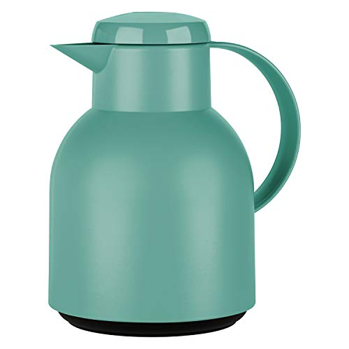 Emsa F4010200 Samba Isolierkanne (1 Liter, Quick Press Verschluss, 12h heiß, 24h kalt) puder-grün