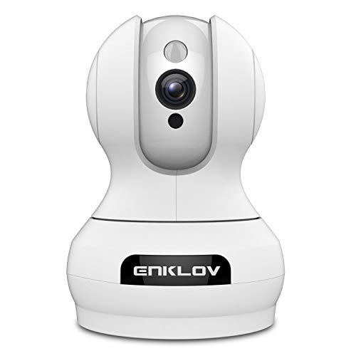 ENKLOV WLAN IP Kamera 1080P, Überwachungskamera Schwenkbar mit Nachsicht, 2 Wege Audio Bewegungserkennung, WLAN/LAN Cloud Speicher, Kompatibel mit Alexa Google Home, Für ios Android Windows Mac