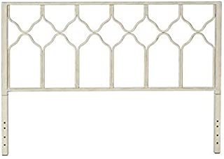 In Style Furnishings In Classic Geometric Metal Honeycomb Headboard in Brushed White for King Size Beds, Antique
