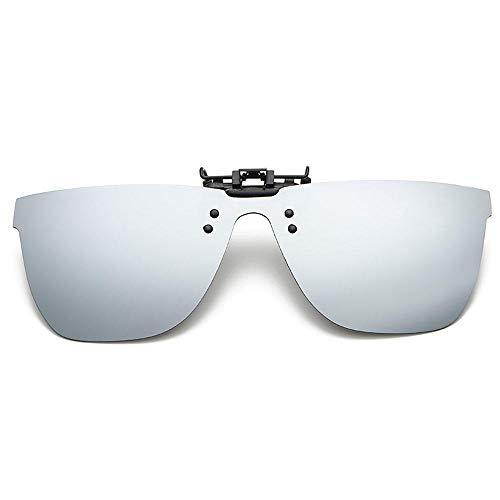 ZQSM Polarizado Gafas De Sol Lente Clip Moda Lentes de Miopía Capa Exterior Gafas Anti UV para Hombre y Mujer Conducir Ciclismo Pesca Anteojos de Protección-Mercurio blanco polarizado