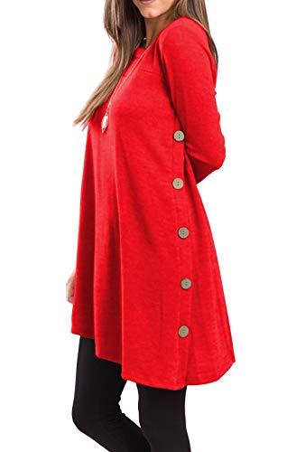 iGENJUN Women's Long Sleeve Scoop Neck Button Side Sweater Tunic Dress,L,Red